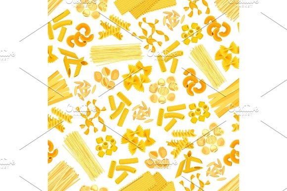 Pasta And Italian Macaroni Vector Seamless Pattern
