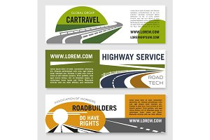 Road travel or construction company vector banners