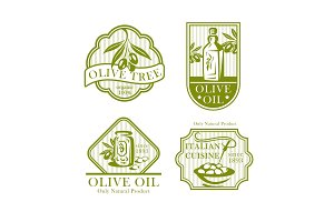Olive oil vector icons for olives product labels