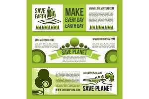 Vector banners for Save Earth and nature ecology