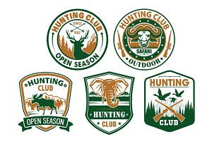 Hunting club vector wild animals icons for badges