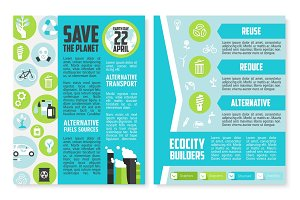 Earth Day brochure or poster template design