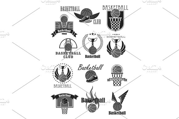 Basketball Club Or Championship Award Vector Icons