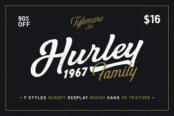 Hurley 1967 family 75 off script fonts creative market fandeluxe Choice Image