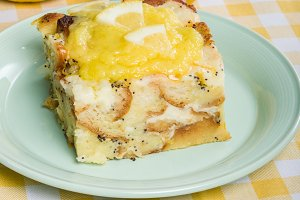 Lemon poppyseed bread pudding