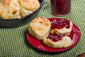 Fresh baked biscuits and jam or preserves