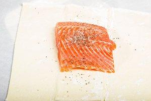 Salmon fillet in dough wrap