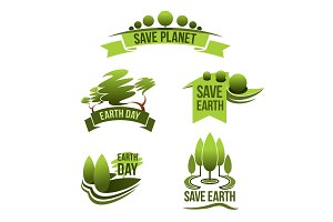 Vector icons for Save Earth and nature ecology