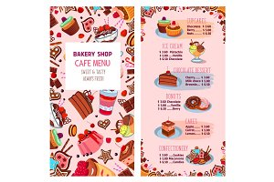 Menu vector template for bakery shop desserts