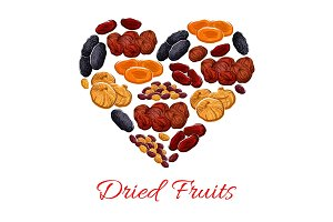 Heart of vector dried fruits snacks