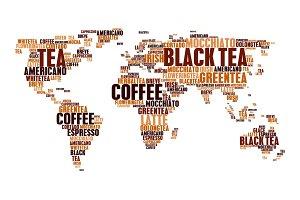 Cloud tags tea coffee hot drinks world map words