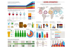 Alcohol consumption infographics vector template