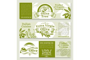 Olive oil and olives product vector banners