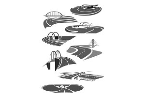 Vector icons of road tunnels and highway bridges