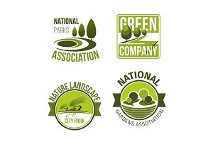 Green nature landscape design vector icons set