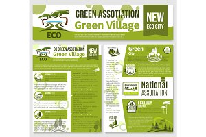 Green eco nature company vector templates set