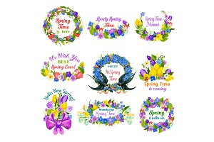 Hello spring floral frame and border icon set