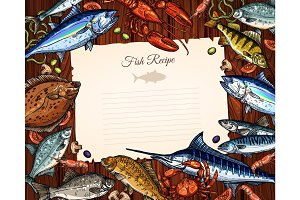 Vector template of blank paper for fish recipe