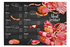 Vector meat price template butchery or farm market