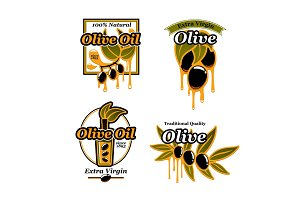 Olive oil vector icons and fresh green olives