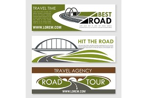 Road travel company or agency vector banners set
