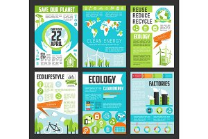 Ecology, Earth Day poster template set