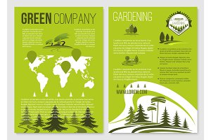 Green company vector posters templates set
