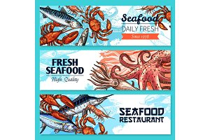 Seafood restaurant banners vector sketch set