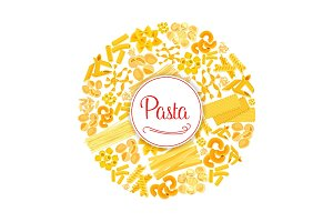 Pasta or macaroni vector round Italian poster