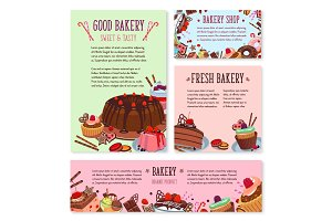 Vector desserts and cakes for bakery menu template