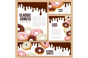Vector templates set for donut desserts