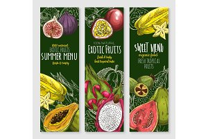 Vector banners set of exotic tropical fresh fruits