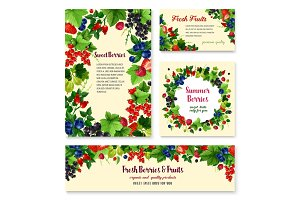 Fresh berries and fruits vector posters templates