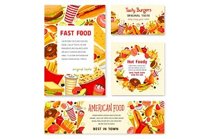 Fast food restaurant vector menu posters templates