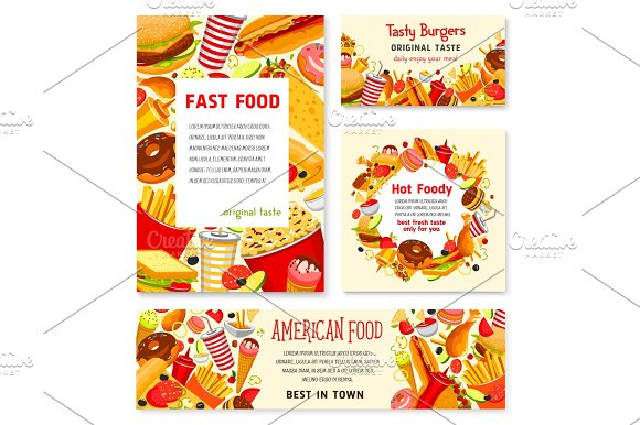 Fast Food Restaurant Vector Menu Posters Templates