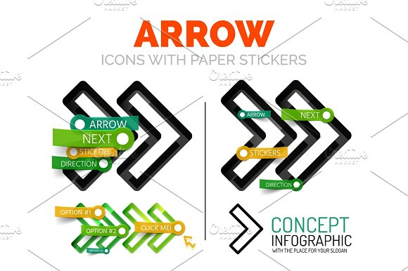 Vector Arrow Linear Style Icons 3D Cut Out Relief With Sticker Buttons