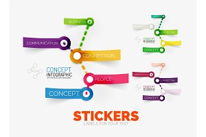 Vector diagram elements set with colour paper sticker icons