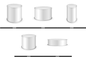 Set of Metal tin can, canned food
