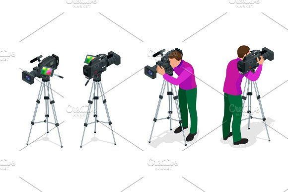 Professional Digital Video Camera And Cameraman Flat 3D Isometric Illustration For Infographics And Design Camcorders And Equipment