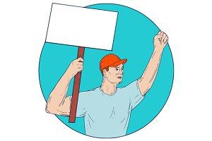 Union Worker Activist Placard