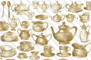 Gold Vintage Tea Clipart