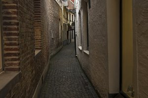 A small narrow street in Bruges