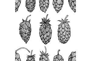 Hop beer seamless pattern