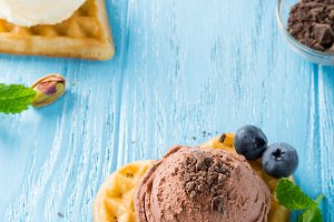 Waffle with chocolate ice cream