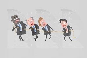 Teamwork pulling a rope