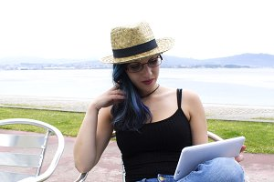 hipster woman using tablet