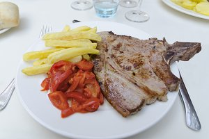 Veal steak in a plate