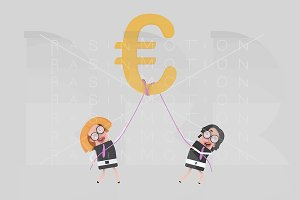 Business people  holding Euro Symbol