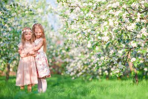 Adorable little girls on spring day outdoors walk in apple garden