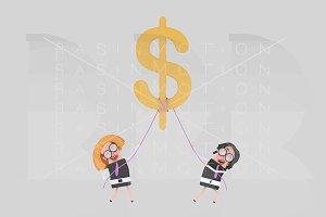 Business women holding  dollar